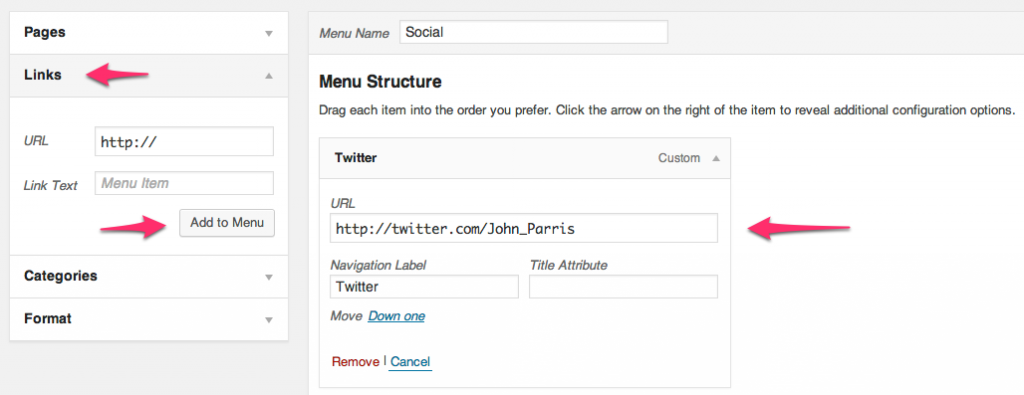 Configuring the Social Links menu
