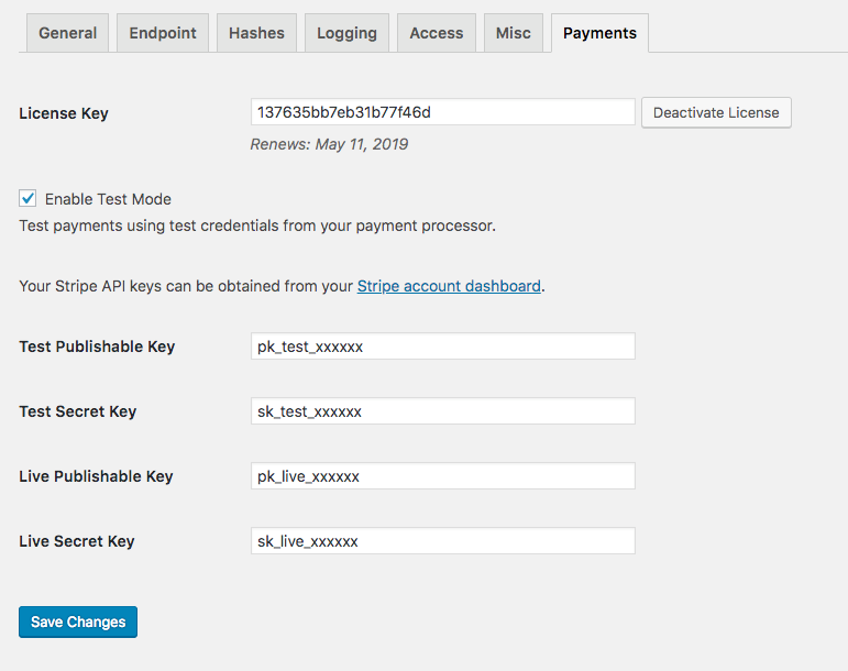 Settings page for the Payments for Download Monitor extension